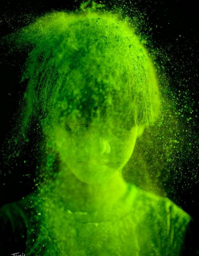"Girl covered in ""holy ""powder."